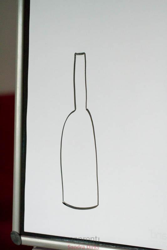 Flaschendeko am Flipchart